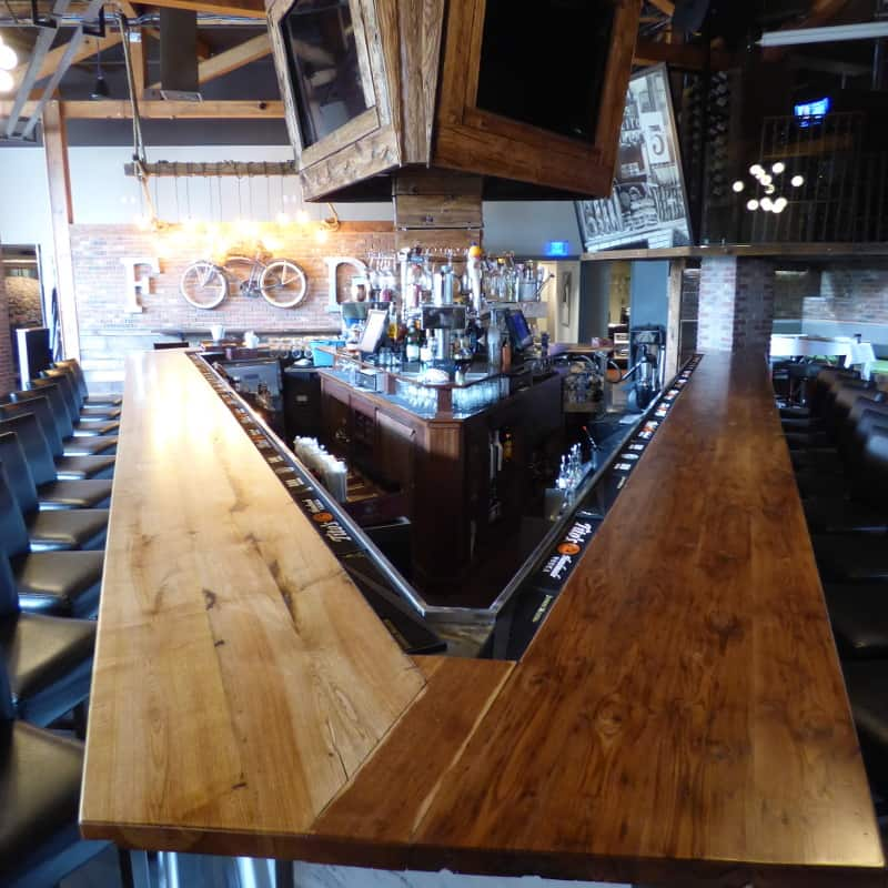 Reclaimed Chestnut Bar Top at Butchers & Bakers