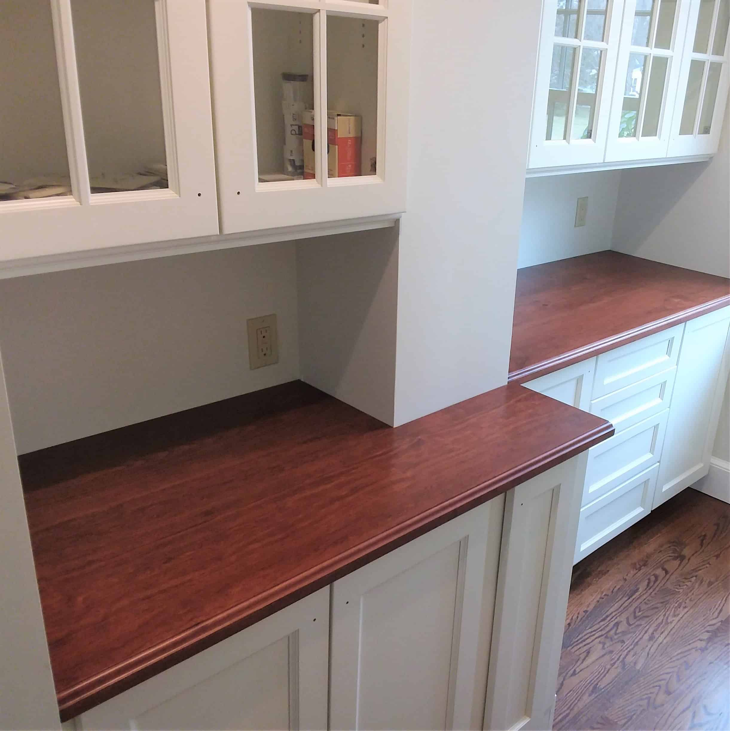 Vertical Grain Cherry wood stained pantry top