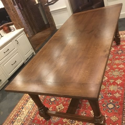 French Oak Table (top and bottom) with dark stain